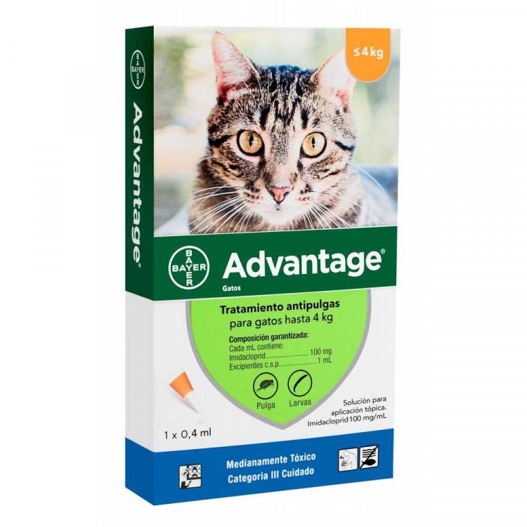 Advantage Pipeta Antipulgas Gatos hasta 4 Kg.